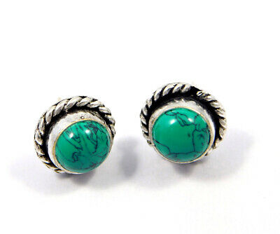 Turquoise .925 Silver Plated Handmade Stud Earring Jewelry JC8137