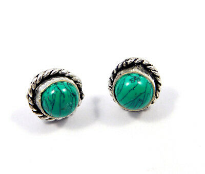 Turquoise .925 Silver Plated Handmade Stud Earring Jewelry JC8151