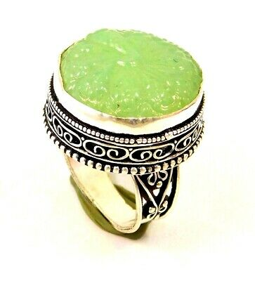 Charming Chalcedony Silver Carving Jewelry Ring Size 8.75 JC1663
