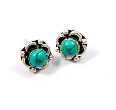 Turquoise .925 Silver Plated Handmade Stud Earring Jewelry JC8173