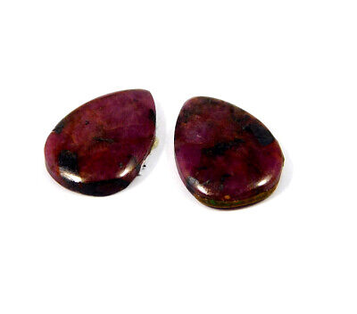 25 Cts. 100% Natural Pair Of Pear Ruby Loose Cabochon Gemstone RRM19154