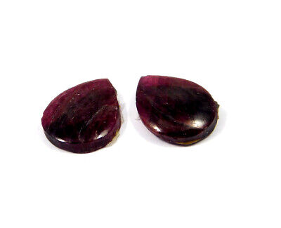 20 Cts. 100% Natural Pair Of Pear Ruby Loose Cabochon Gemstone RRM19163