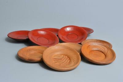 S7242: Japanese Wooden Lacquer ware TEA CUP TRAY Saucer Chataku Bundle sale