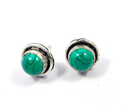Turquoise .925 Silver Plated Handmade Stud Earring Jewelry JC8097