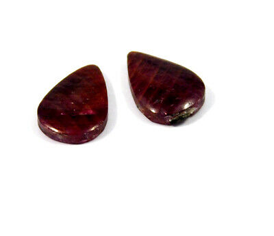 21 Cts. 100% Natural Pair Of Pear Ruby Loose Cabochon Gemstone RRM19170