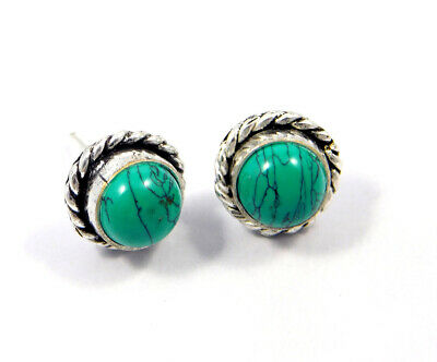 Turquoise .925 Silver Plated Handmade Stud Earring Jewelry JC8126