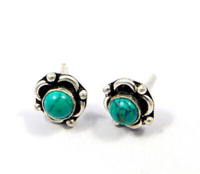 Turquoise .925 Silver Plated Handmade Stud Earring Jewelry JC8155