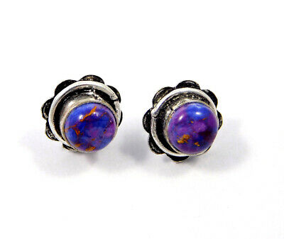 Purple Copper Turquoise .925 Silver Plated Handmade Stud Earring Jewelry JC8067
