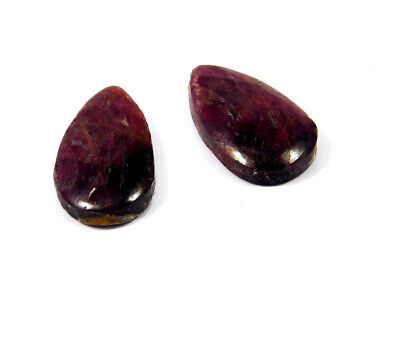 17 Cts. 100% Natural Pair Of Pear Ruby Loose Cabochon Gemstone RRM19140