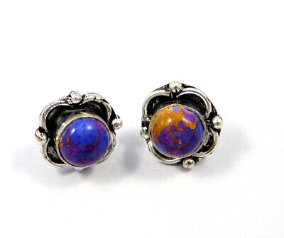 Purple Copper Turquoise .925 Silver Plated Handmade Stud Earring Jewelry JC8059
