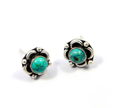 Turquoise .925 Silver Plated Handmade Stud Earring Jewelry JC8177