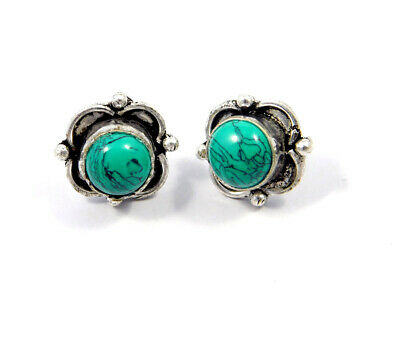 Turquoise .925 Silver Plated Handmade Stud Earring Jewelry JC8103