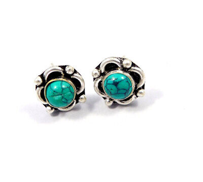 Turquoise .925 Silver Plated Handmade Stud Earring Jewelry JC8186