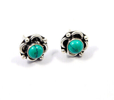 Turquoise .925 Silver Plated Handmade Stud Earring Jewelry JC8119