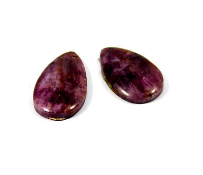 22 Cts. 100% Natural Pair Of Pear Ruby Loose Cabochon Gemstone RRM19169