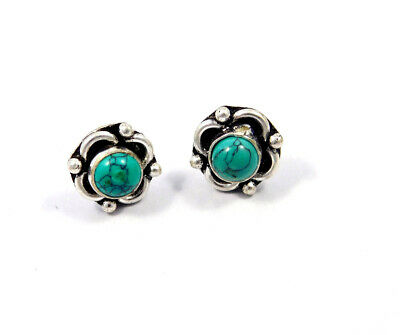 Turquoise .925 Silver Plated Handmade Stud Earring Jewelry JC8081