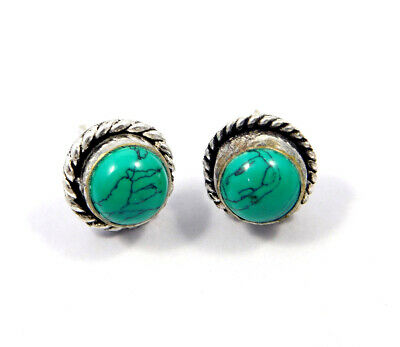 Turquoise .925 Silver Plated Handmade Stud Earring Jewelry JC8163