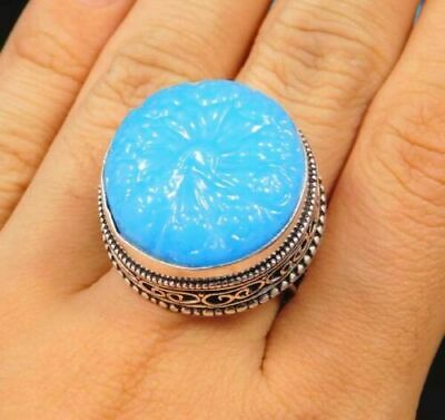 Charming Chalcedony Silver Carving Jewelry Ring Size 8.75 JC1660