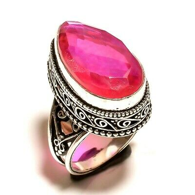 Charming Mystic Topaz Quartz Silver Carving Jewelry Ring Size 6.75 JA635
