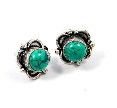 Turquoise .925 Silver Plated Handmade Stud Earring Jewelry JC8098