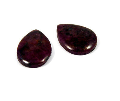 25 Cts. 100% Natural Pair Of Pear Ruby Loose Cabochon Gemstone RRM19166