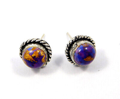Purple Copper Turquoise .925 Silver Plated Handmade Stud Earring Jewelry JC8065