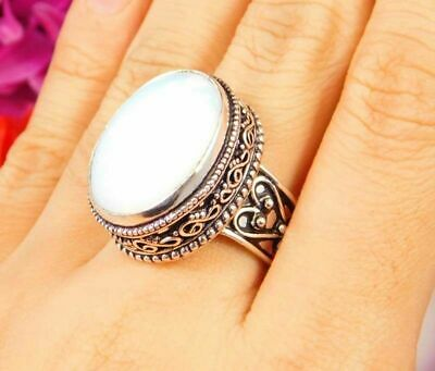 Lovely Ethiopan Opal Silver Hand Carving Jewelry Ring Size 7.75 JC3057