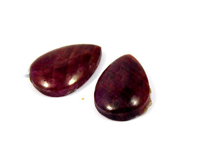 26 Cts. 100% Natural Pair Of Pear Ruby Loose Cabochon Gemstone RRM19152