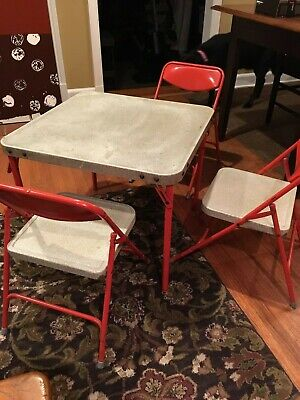 Vintage Children's Tin RED Folding Play Table and 3 Matching Chairs~Samsonite!