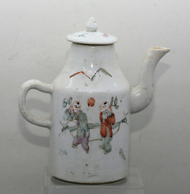 Fantastic Antique Chinese Hand Painted Provincial Porcelain Wine Pot Circa 1850s