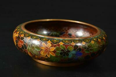 U579: Chinese Copper Shippo Flower inlay WATER-BASIN Ikebana Tea Ceremony
