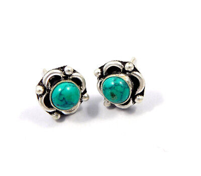 Turquoise .925 Silver Plated Handmade Stud Earring Jewelry JC8156