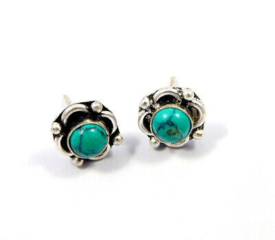 Turquoise .925 Silver Plated Handmade Stud Earring Jewelry JC8142