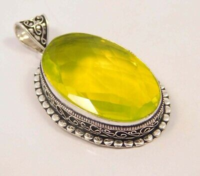 Citrine Quartz .925 Silver Plated Carving Pendant Jewelry JC6677