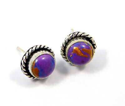 Purple Copper Turquoise .925 Silver Plated Handmade Stud Earring Jewelry JC8052