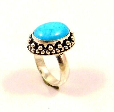 A++ Charming Turquoise Silver Designer Jewelry Ring Size 8.75 JC6337