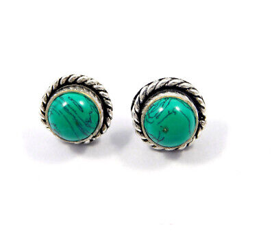 Turquoise .925 Silver Plated Handmade Stud Earring Jewelry JC8162