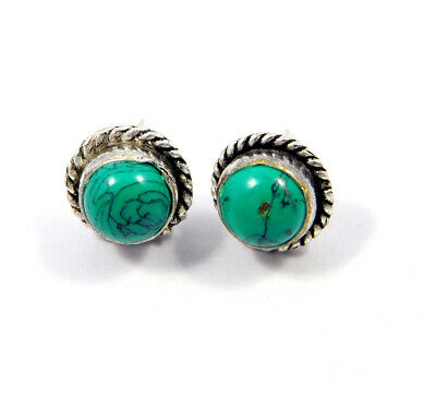Turquoise .925 Silver Plated Handmade Stud Earring Jewelry JC8176