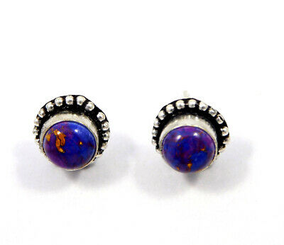 Purple Copper Turquoise .925 Silver Plated Handmade Stud Earring Jewelry JC8066