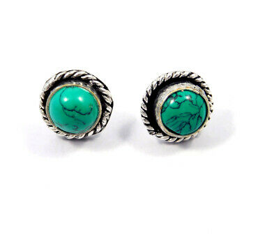 Turquoise .925 Silver Plated Handmade Stud Earring Jewelry JC8100