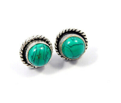 Turquoise .925 Silver Plated Handmade Stud Earring Jewelry JC8166
