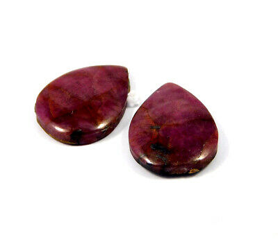 29 Cts. 100% Natural Pair Of Pear Ruby Loose Cabochon Gemstone RRM19148