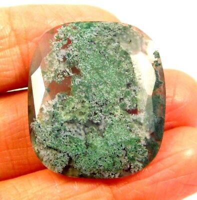 100% Natural Faceted Moss Agate Cut Loose Gemstones 25 CT 25X21mm..NG18481