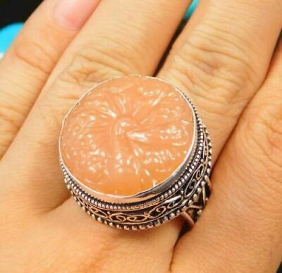 Charming Chalcedony Silver Carving Jewelry Ring Size 8.75 JC1658