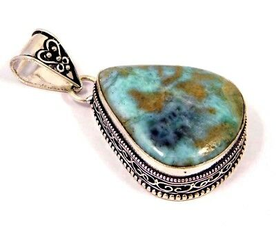 Heated Larimar.925Silver Beautiful Carving Pendants Jewelry JB984& JC2476-JC4490