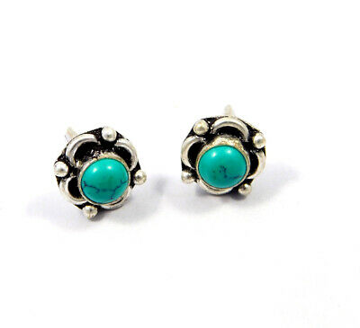 Turquoise .925 Silver Plated Handmade Stud Earring Jewelry JC8117