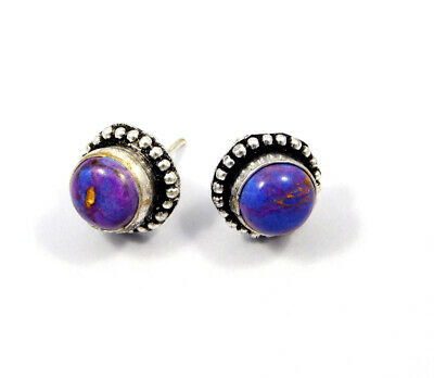 Purple Copper Turquoise .925 Silver Plated Handmade Stud Earring Jewelry JC8055