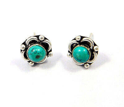 Turquoise .925 Silver Plated Handmade Stud Earring Jewelry JC8114