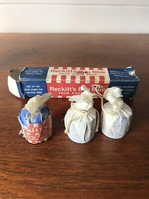 Vintage Reckitt's Bag Blue Four Knob Pack Laundry Advertising