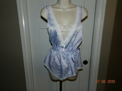 Vintage 80s Teddy Satin Lace Frilly Top Romper Lily of France Size S lavendar